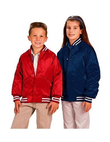 ee98b110078 Cardinal Activewear Satin Baseball Jacket Quilt Lined Youth Wholesale